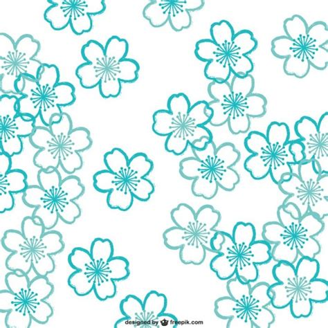 sakura pattern ai turquoise cherry blossoms pattern vector free download