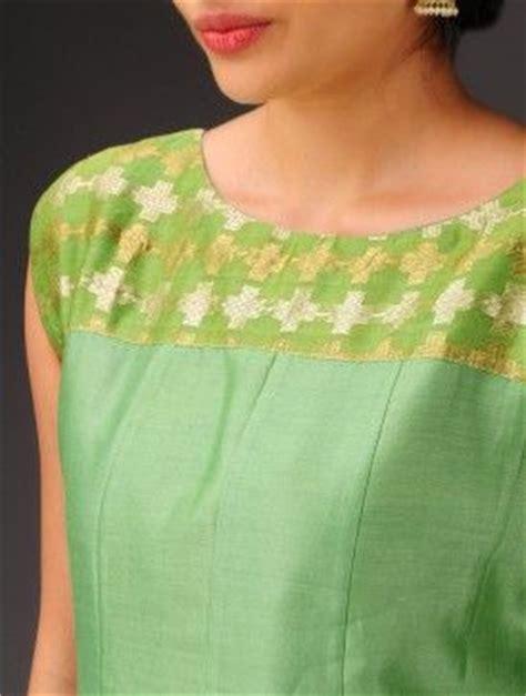 yoke pattern kurta green sleeveless chanderi kurta with brocade yoke 1