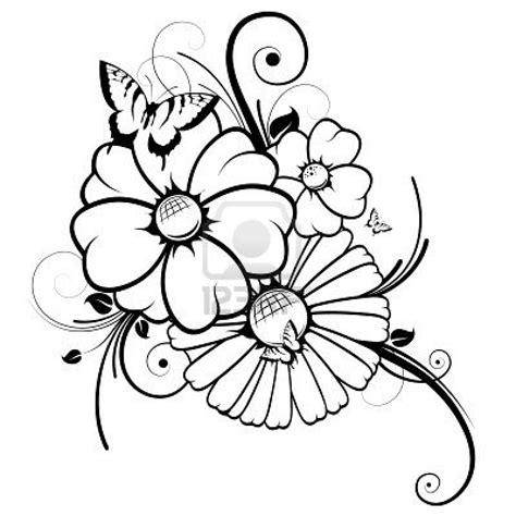 dibujo de mariposa en flores para colorear dibujos de flores coloreando este dibujo de flores