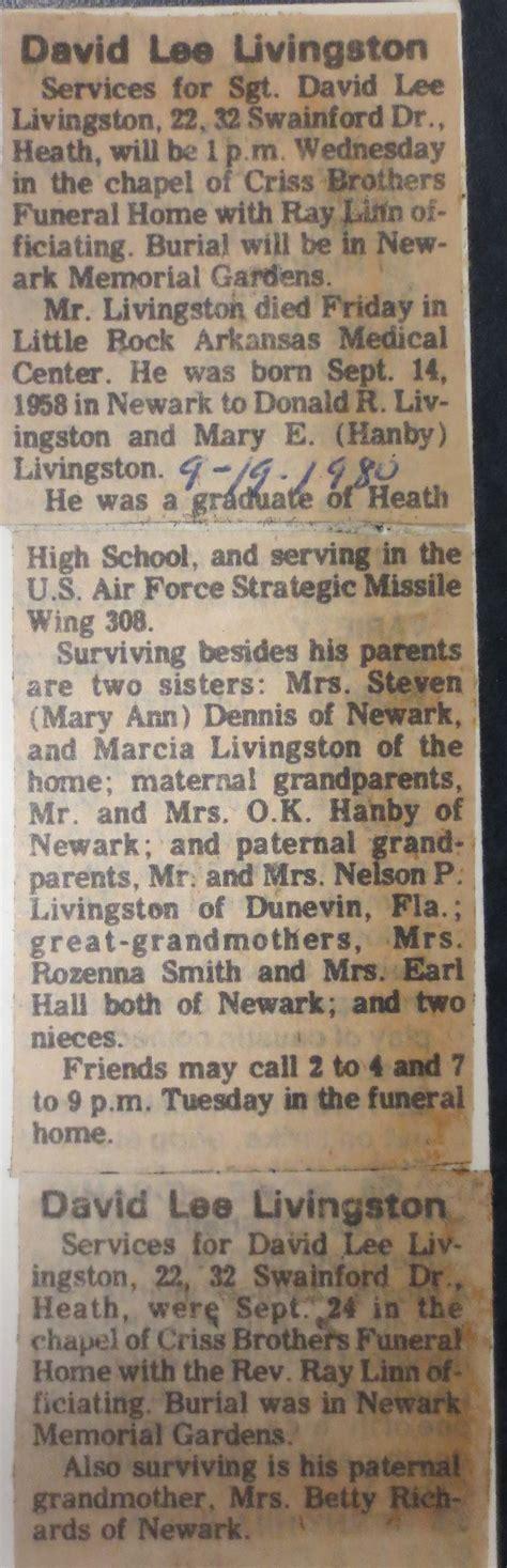 Livingston Birth Records Sgt David Livingston 1958 1980 Find A Grave Memorial