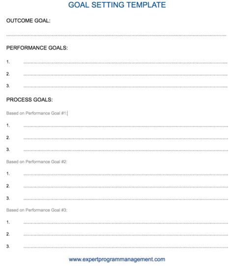 setting goals template goal setting outcome performance and process goals