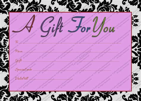 Generic Gift Card Template by Printable Purple Generic Gift Certificate Template