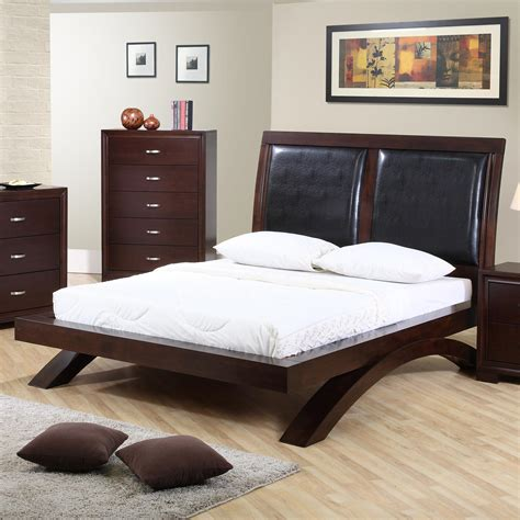 King Bed With Leather Headboard by Elements International King Faux Leather Headboard