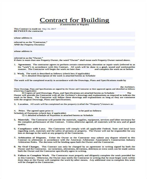 building agreement template 30 free contract templates free premium templates