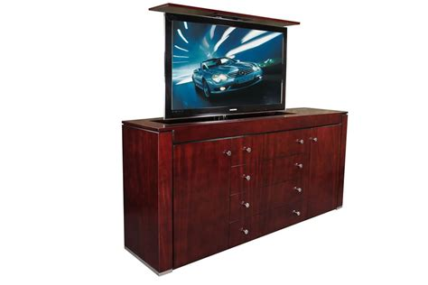 modern contemporary mahogany tv lift cabinet custom made