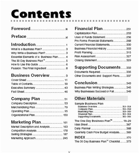 business plan table of contents businessplan30days successful business planning in 30 days a step by step guide for