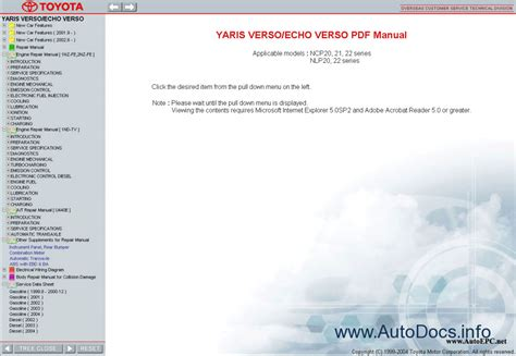 toyota yaris verso echo verso repair manuals download wiring diagram electronic parts toyota yaris verso echo 1999 2005 service manual repair manual order download