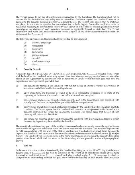 rental agreement template washington state washington rental agreement for residential premises