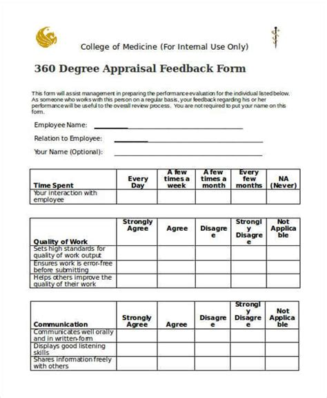 360 degree feedback form the 360 degree evaluation form exle guide to using it