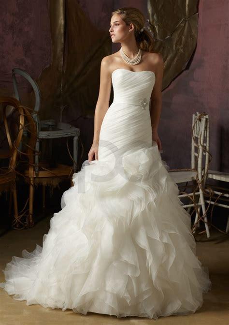 organza ruffle wedding dress