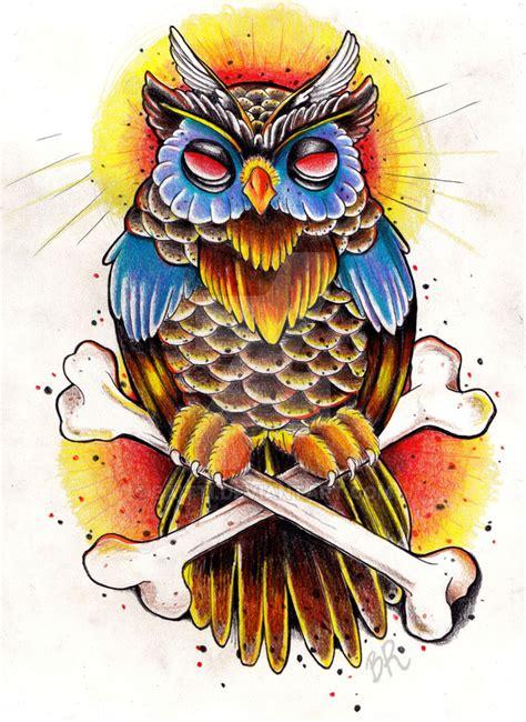 tattoo flash owl old school owl by baitti on deviantart