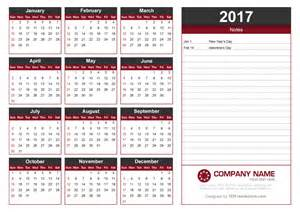 Calendar Template With Notes by 2017 Calendar Template With Notes By 123freevectors On
