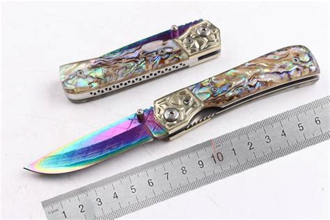 colorful pocket knives 2017 04442 edc pocket knife damascus coated colorful