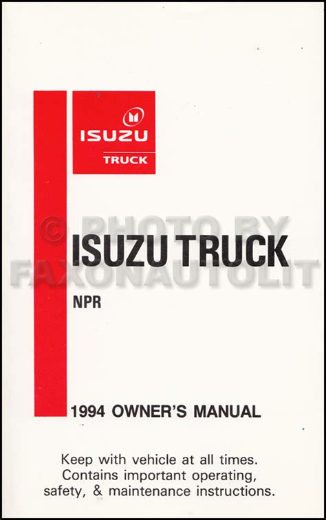 Isuzu Npr Owners Manual New 1994 Isuzu Npr Diesel Truck Owners Manual Original