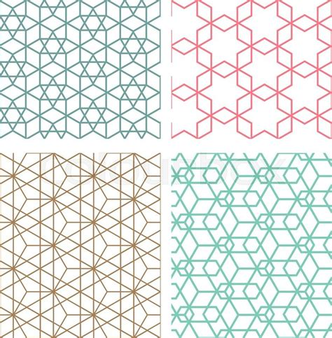 seamless mesh pattern set of mesh geometric seamless pattern in modern korean