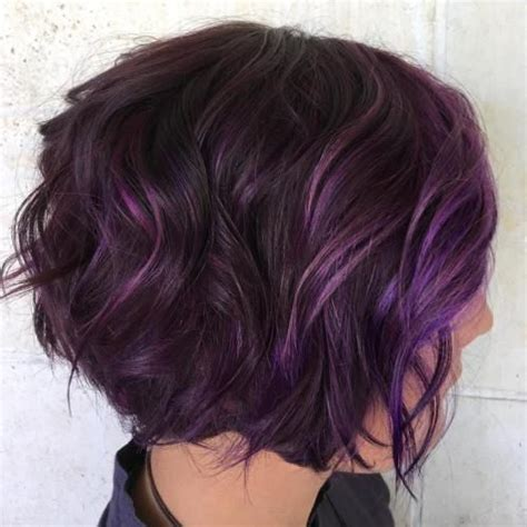black stacked bob with purple balayage image result for short hair purple highlights hair