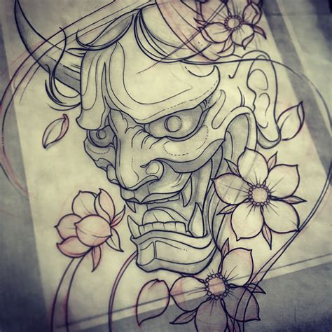 japanese mask tattoo design hanya mask drawing mike tattoo custom tattoos toronto