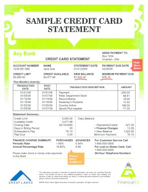 credit card bill template statement of account template forms fillable printable