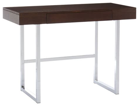 Modern Espresso Desk Desk Espresso Chrome Contemporary Desks And Hutches By Shop Chimney