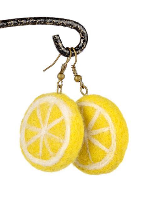 Lemon Earring lemon earrings with felt slices yellow fruit jewelry