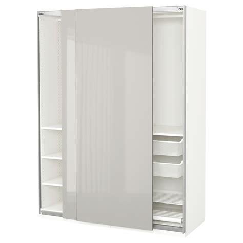 ikea fitted wardrobes pax pax wardrobe white hasvik high gloss light grey 150x66x201