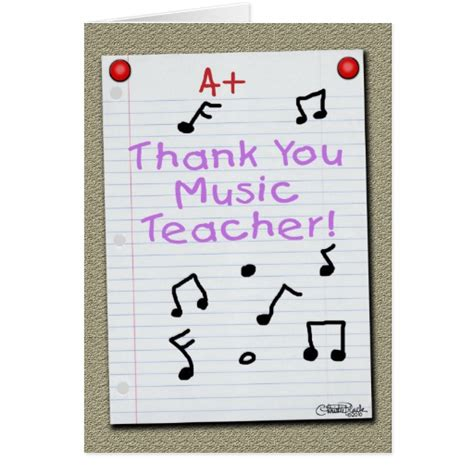 printable thank you cards for music teachers notebook paper thank you music teacher card zazzle