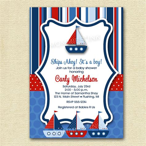 Baby Shower Invitation Ships Ahoy Baby Shower Sailboat Invitation Sailboat Baby Shower Nautical Baby Shower Invitations Templates