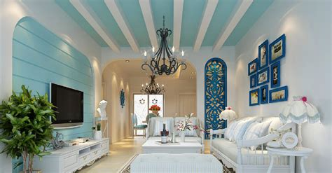 3d house blue and green mediterranean style 3d