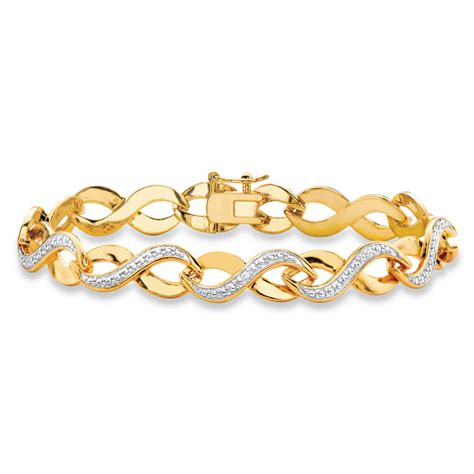 style infinity accent two tone pave style infinity link bracelet