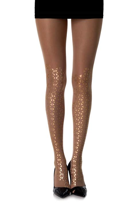 beat goes on triangles patterned sheer skin color tights