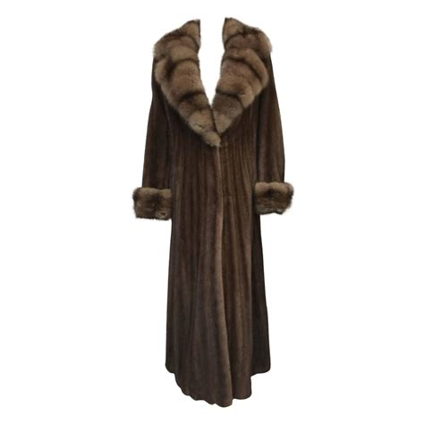 swing style coat luxurious brown mink long swing coat with sable collar and