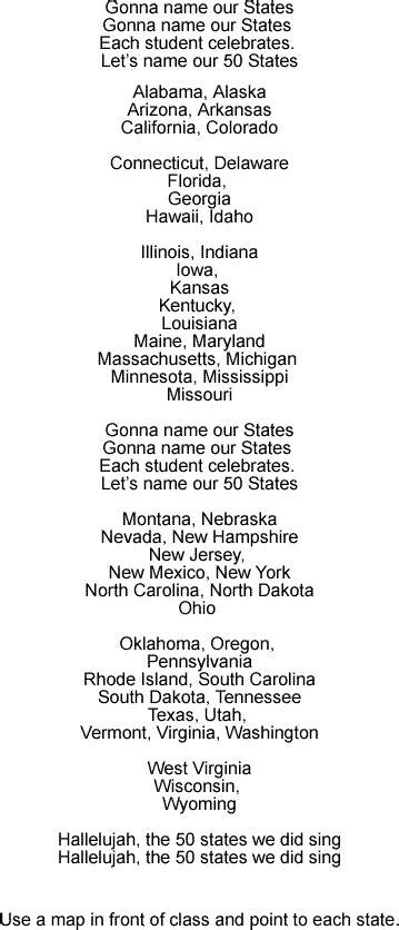 printable lyrics 50 nifty united states 50 states and capitals