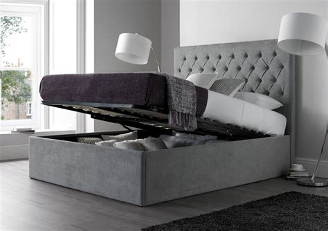 gray storage bed maxi steel grey upholstered ottoman storage bed frame only king size beds bed sizes