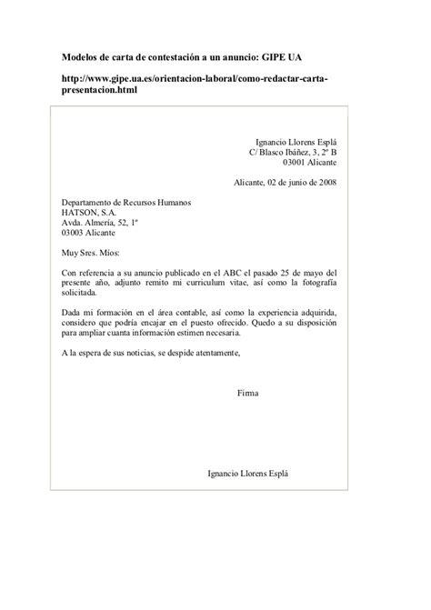 Modelos Carta Presentacion Curriculum Email Modelos De Carta De Contestaci 243 N A Un Anuncio De Trabajo Candidatura