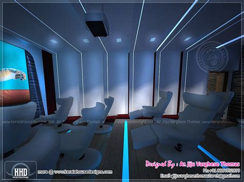 home theater and spillover space interiors kerala home