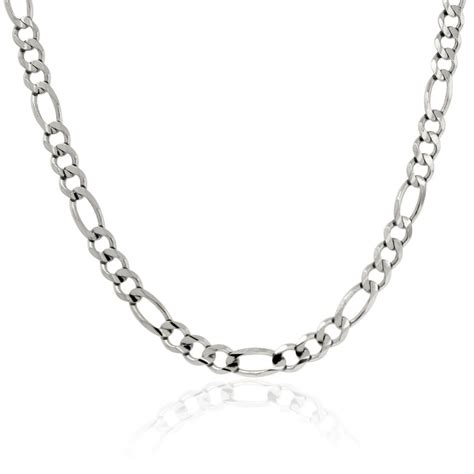 White Gold figaro link 14k white gold chain necklace