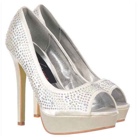 onlineshoe ivory peep toe diamante stiletto