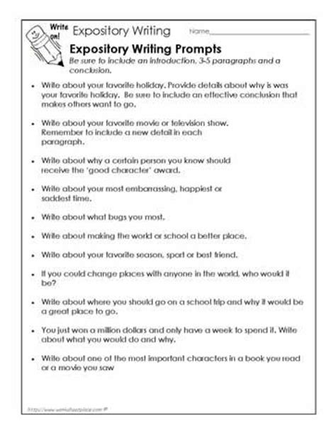 Sle Expository Essay 4th Grade i would use these writing prompts to students