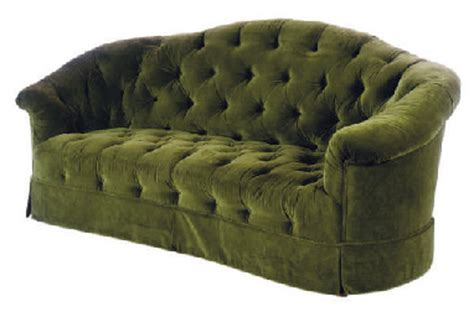 Green Sofas For Sale by A Green Velvet Upholstered Button Tuffted Sofa 20th