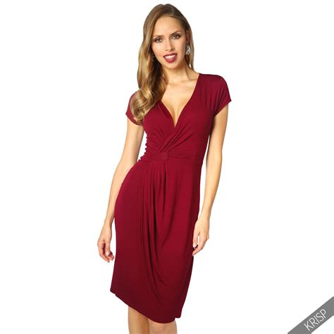 Harsey Dress womens v neck wrap front top jersey midi dress cap sleeve
