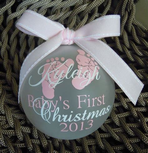 baby s first christmas ornament pink white christmas
