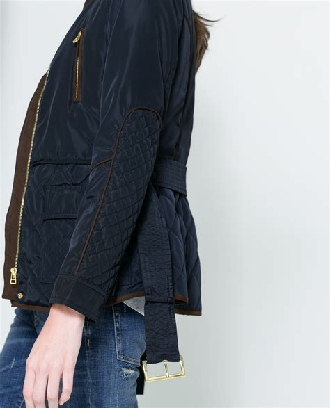 Quilted Jacket Zara by Zara Quilted Jacket With Piping In Blue Lyst