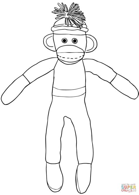 coloring pages of sock monkey christmas sock monkey coloring page free printable