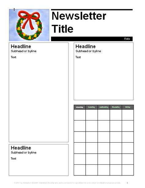 december parent newsletter template education world
