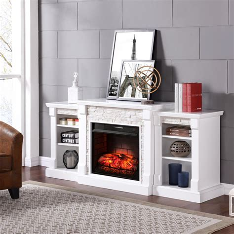 White Electric Fireplace With Bookcase Best Home Design 2018 White Electric Fireplace With Bookcase