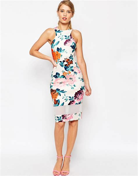 Panel Floral Midi Dress asos asos mesh panel cutaway neck floral bodycon midi