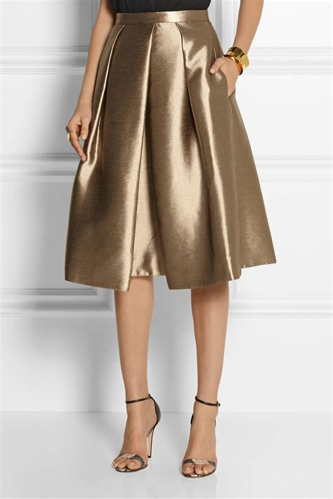 tibi halcyon metallic pleated taffeta skirt in metallic lyst