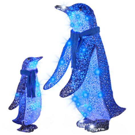 blue outdoor decorations shop gemmy lighted penguin outdoor decoration
