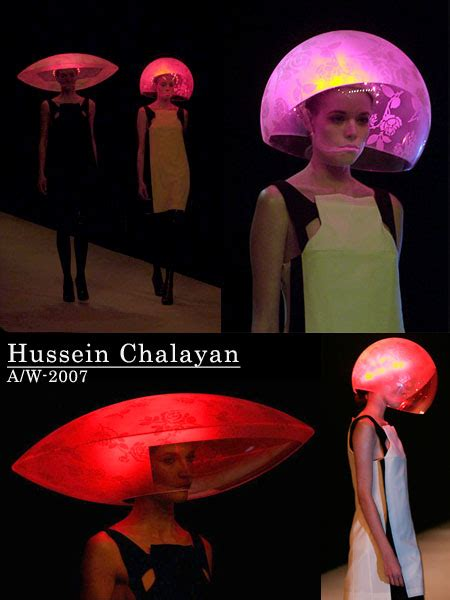 Hussein Chalayans Amazing Fashion And Technology Mix 2 by Hussein Chalayan Model Runway Wearing Shine Helmet On Fall