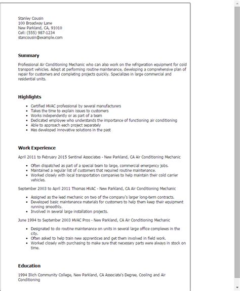 Air Conditioning Mechanic Sle Resume by Air Conditioning Mechanic My Resume